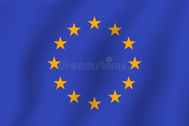 Bandera de unión europea Bandera realista del ejemplo del vector Nationa stock de ilustración