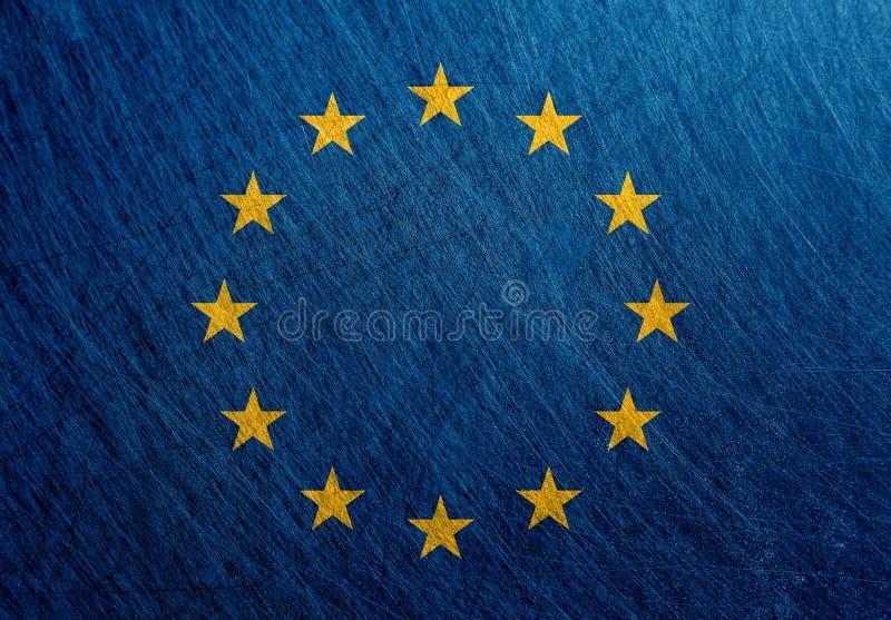 Bandera de unión europea, vintage, retro, rasguñado ilustración del vector