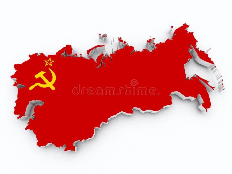 Bandera de Unión Soviética en el mapa 3d stock de ilustración
