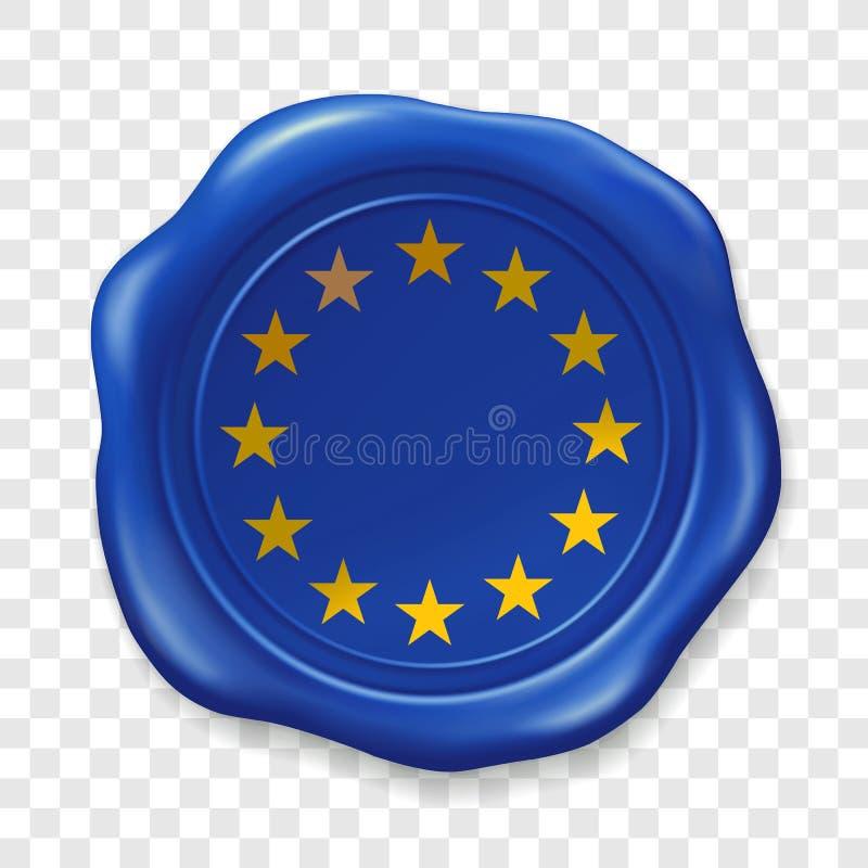 Bandera de uni?n europea Sello brillante de la cera Etiqueta realista del sello de la cera de lacre vieja en fondo transparente V ilustración del vector