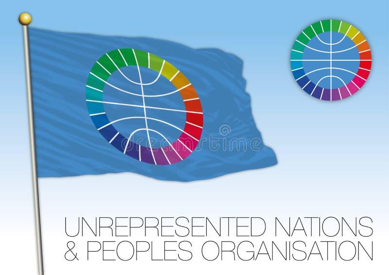 Bandera de UNPO, naciones no representadas y organización de gente stock de ilustración