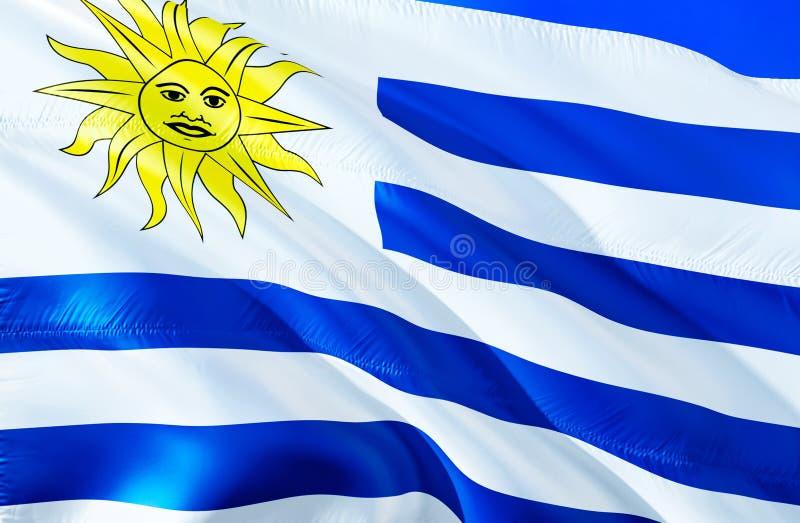 Bandera de Uruguay diseño de la bandera que agita 3D El símbolo nacional de Uruguay, representación 3D Colores nacionales y bande foto de archivo libre de regalías