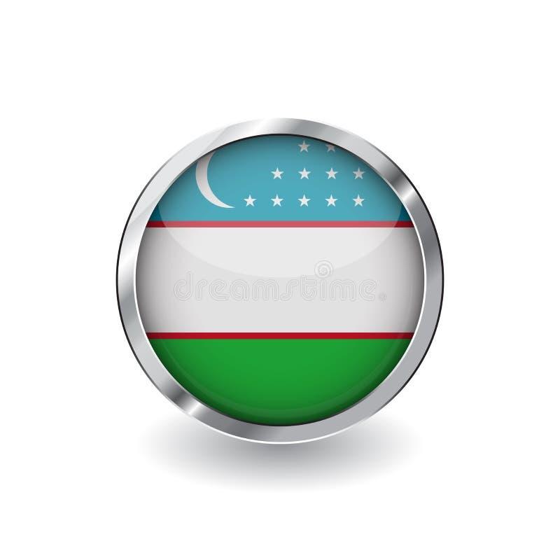 Bandera de Uzbekistán, botón con el marco metálico y la sombra icono del vector de la bandera de Uzbekistán, insignia con efecto  stock de ilustración