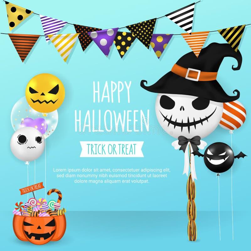 Bandera de Víspera de Todos los Santos Diseño de tarjeta de la invitación del partido del feliz Halloween t ilustración del vector