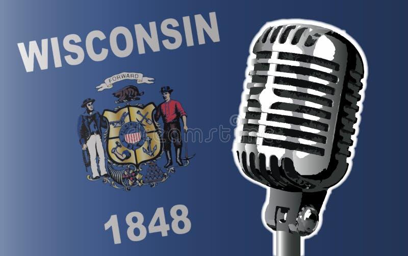 Bandera de Wisconsin y fondo del micrófono ilustración del vector