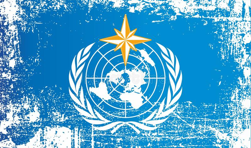 Bandera de WMO, organización meteorológica de mundo Puntos sucios arrugados stock de ilustración