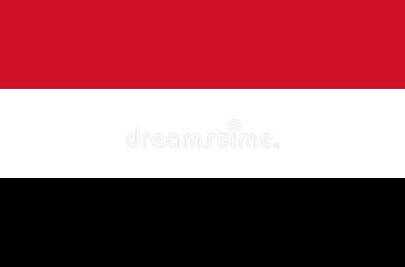 Bandera de Yemen, colores oficiales y proporción correctamente Bandera nacional de Yemen ilustración del vector