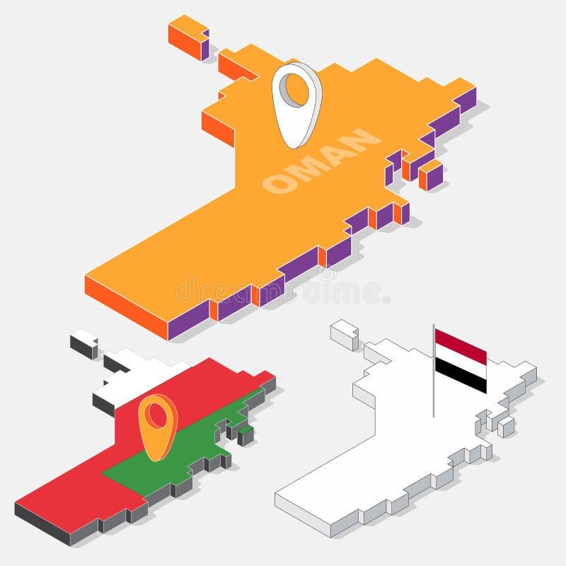 Bandera de Yemen en el elemento del mapa con la forma isométrica 3D aislado en fondo libre illustration