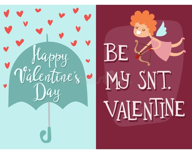 Bandera decorativa abstracta romántica de tarjetas del día de San Valentín del día del ángel de felicitación de la tarjeta del ve libre illustration