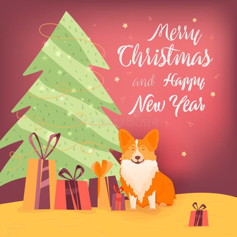 Bandera del Año Nuevo con el árbol de navidad, el perro y los regalos Feliz Navidad y Año Nuevo Perro rojo con los regalos del sí stock de ilustración