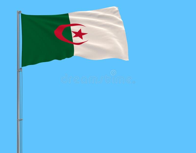 Bandera del aislante de Argelia en una asta de bandera en un azul ilustración del vector