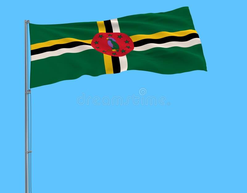Bandera del aislante de Commonwealth de Dominica en una asta de bandera que agita en el viento en un fondo azul stock de ilustración