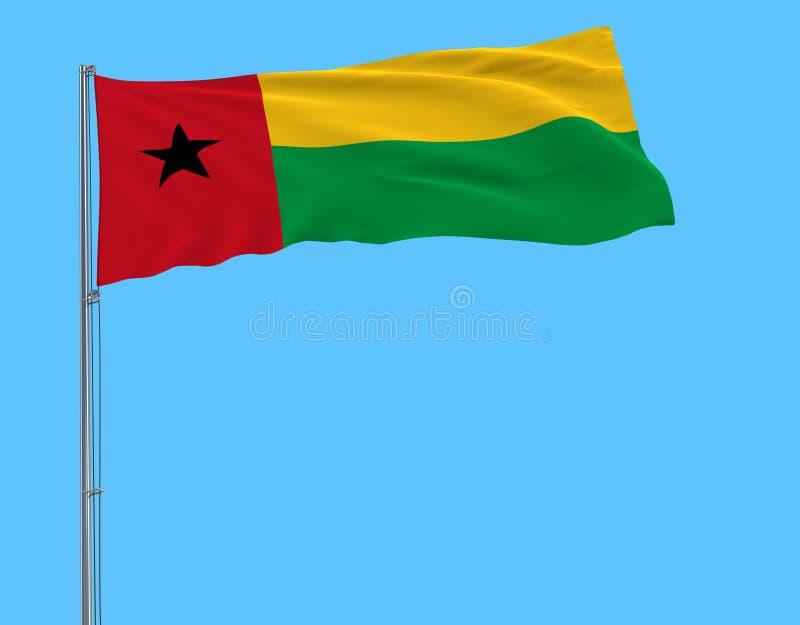 Bandera del aislante de Guinea-Bissau en una asta de bandera que agita en el viento en un fondo azul stock de ilustración