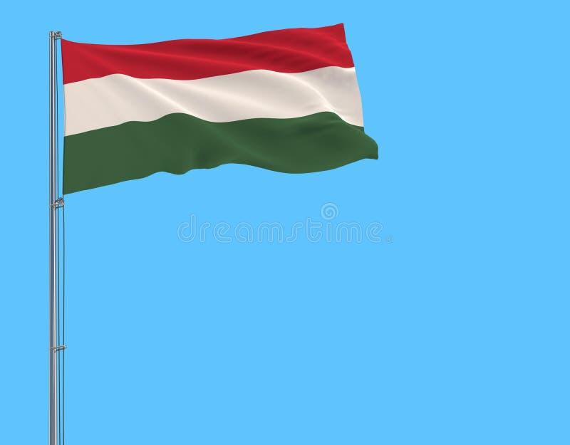 Bandera del aislante de Hungría en una asta de bandera que agita en el viento encendido stock de ilustración