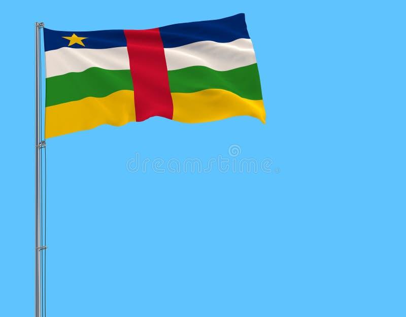 Bandera del aislante de la República Centroafricana en una asta de bandera que agita en el viento en un fondo azul libre illustration