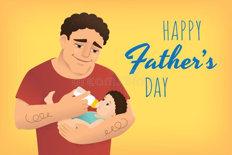 Bandera del amarillo del día de padres ilustración del vector