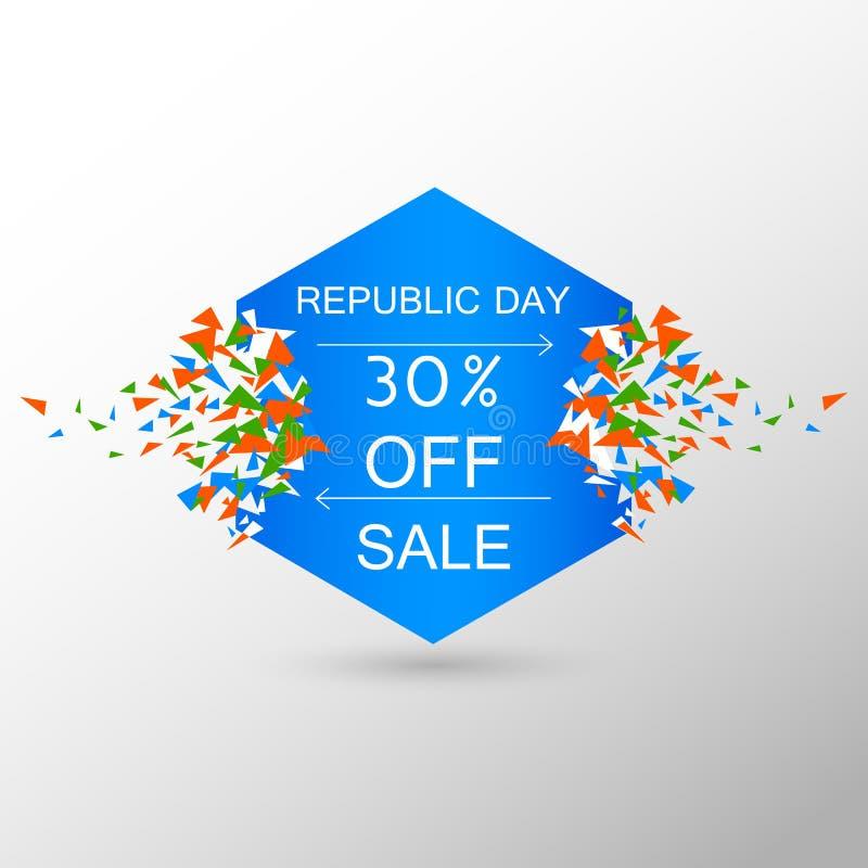 Bandera del anuncio de la promoción de venta para el 26 de enero, día feliz de la república de la India ilustración del vector