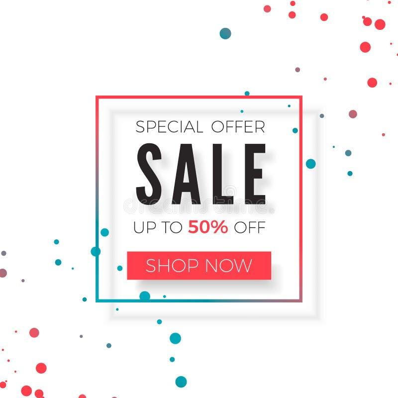 Bandera del anuncio de la venta Cartel geométrico de la venta de la oferta especial Ilustración del vector aislada en el fondo bl libre illustration