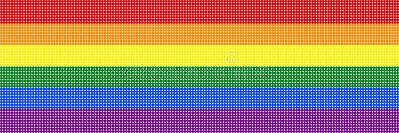 Bandera del arco iris de la textura colorida de los puntos en fondo blanco transparente los colores simbólicos bandera del orgull ilustración del vector