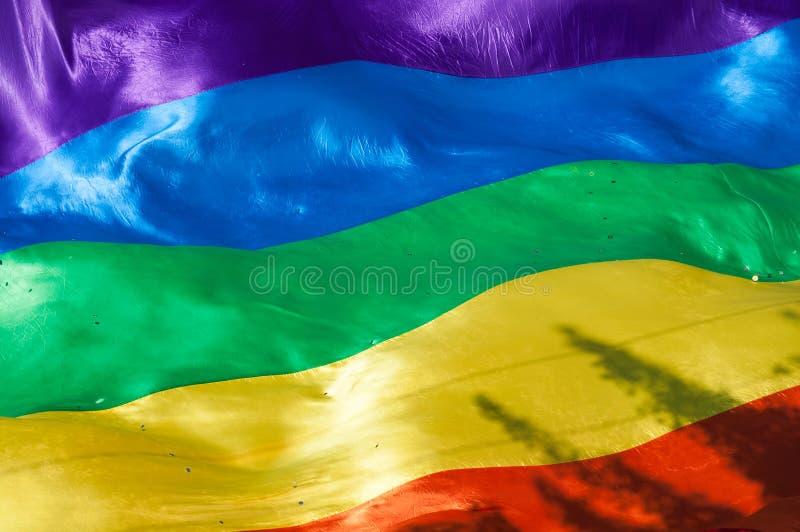 Bandera del arco iris durante desfile de orgullo con una sombra del árbol fotografía de archivo libre de regalías