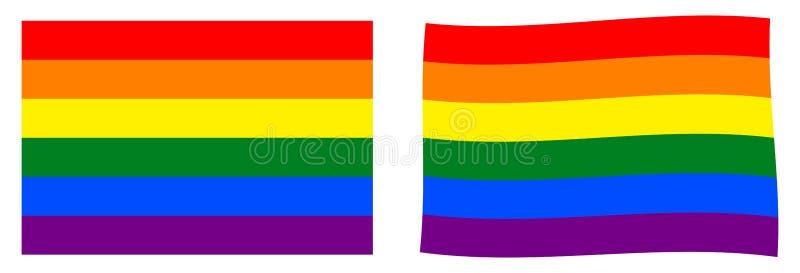 Bandera del arco iris del movimiento de LGBT Versión simple y levemente que agita ilustración del vector