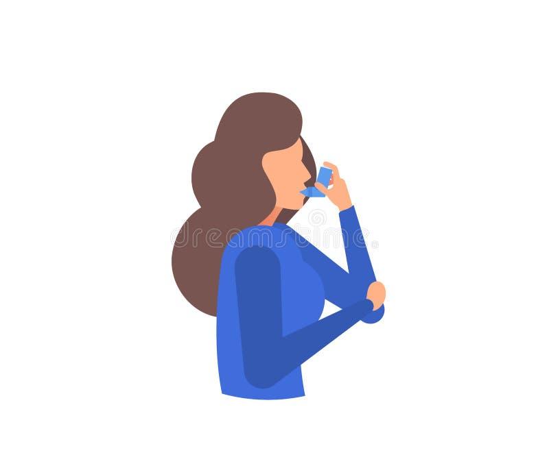 Bandera del asma síntomas Iconos del asma Sistema del vector ilustración del vector
