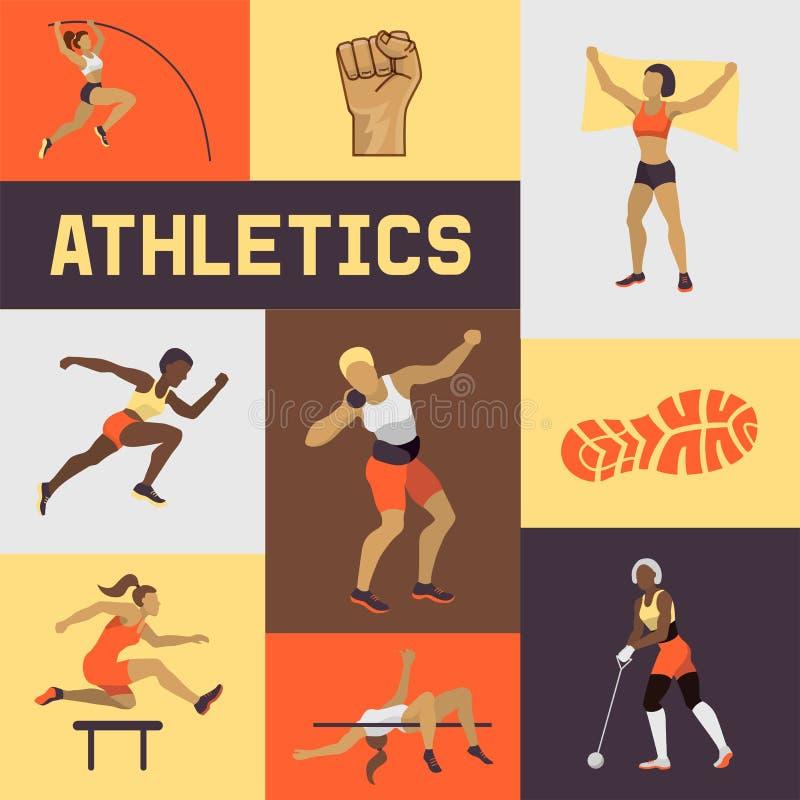 Bandera del atletismo de las mujeres, cartel, ejemplo del vector del folleto Ejercicio de la hembra en diversas actitudes Las fig stock de ilustración