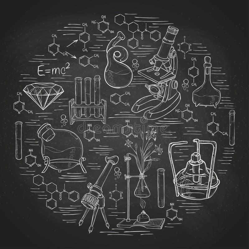 Bandera del bosquejo del laboratorio de química libre illustration
