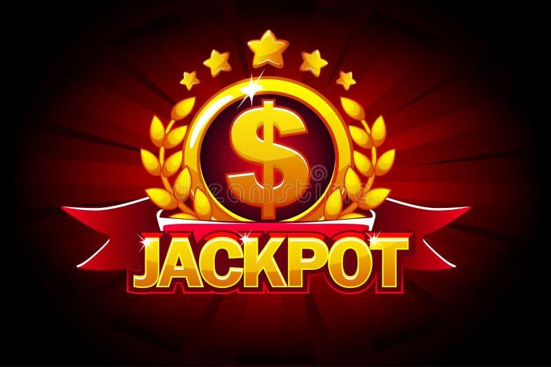 Bandera del bote con la cinta y el texto rojos Ejemplo del vector para el casino, las ranuras, la ruleta y el juego UI stock de ilustración
