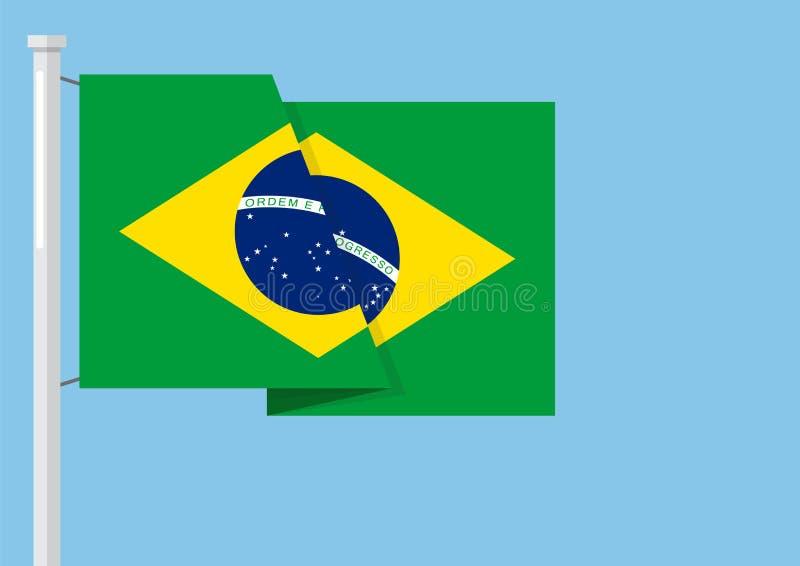Bandera del Brasil con el copyspace ilustración del vector
