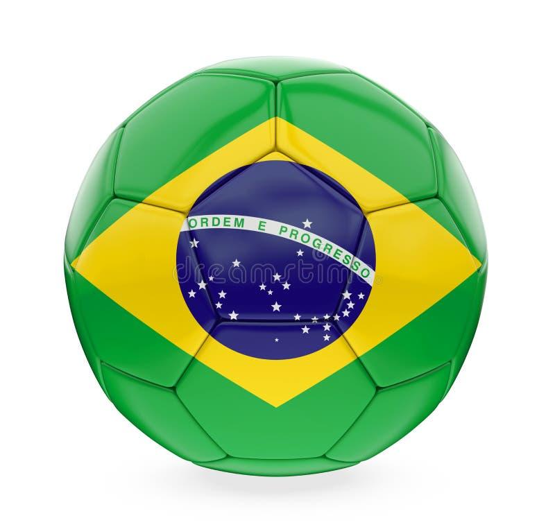 Bandera del Brasil del balón de fútbol aislada ilustración del vector