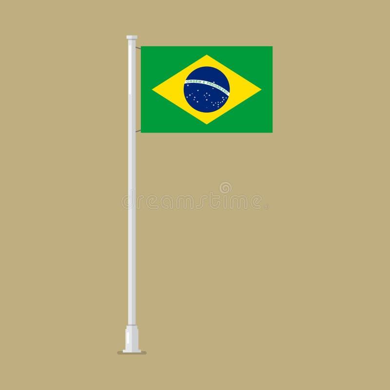Bandera del Brasil en polo libre illustration