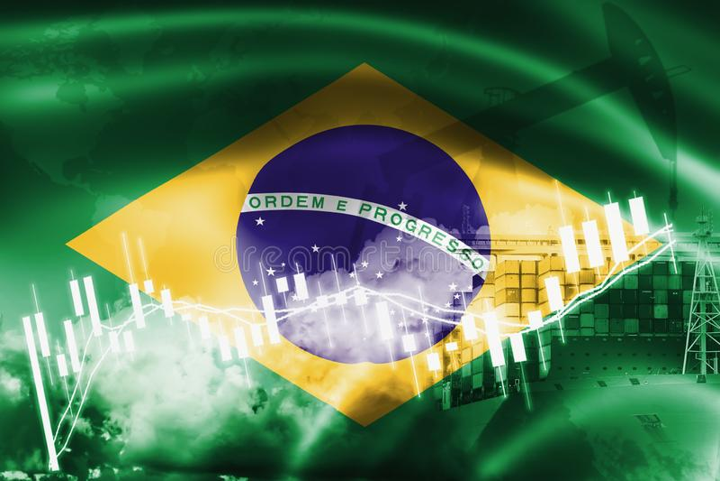 Bandera del Brasil, mercado de acción, economía y comercio, producción petrolífera, del intercambio portacontenedores en la expor ilustración del vector