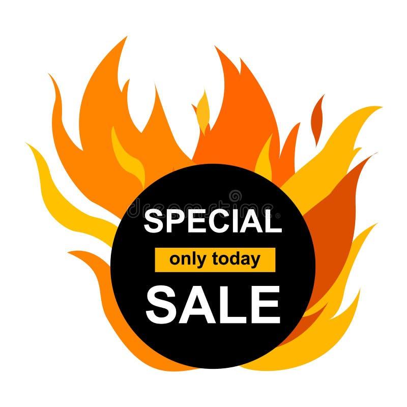 Bandera del círculo con venta especial en el centro Tarjeta negra para la oferta caliente con el gr?fico del fuego del marco libre illustration