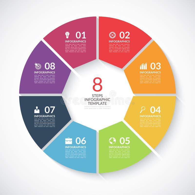 Bandera del círculo de Infographic Vector la plantilla con 8 pasos, piezas, opciones ilustración del vector
