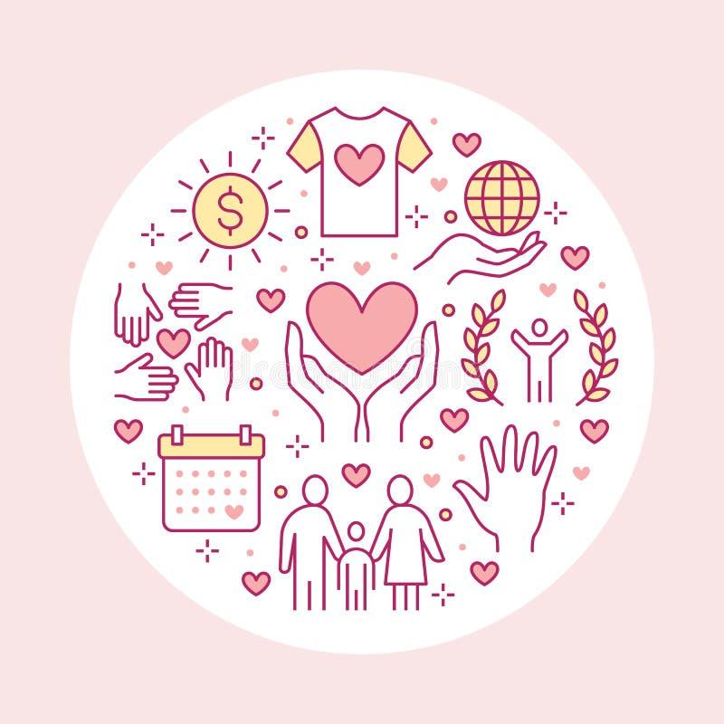 Bandera del círculo del vector de la caridad con la línea plana iconos Donación, organización sin ánimo de lucro, ONG, dando el e libre illustration