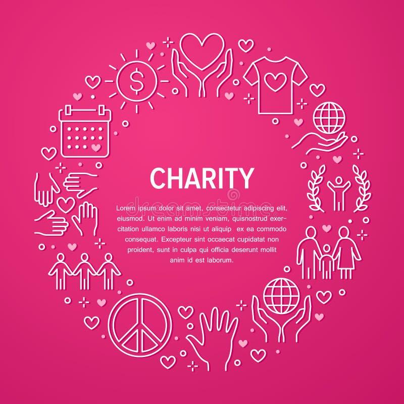 Bandera del círculo del vector de la caridad con la línea plana iconos Donación, organización sin ánimo de lucro, ONG, dando el e ilustración del vector