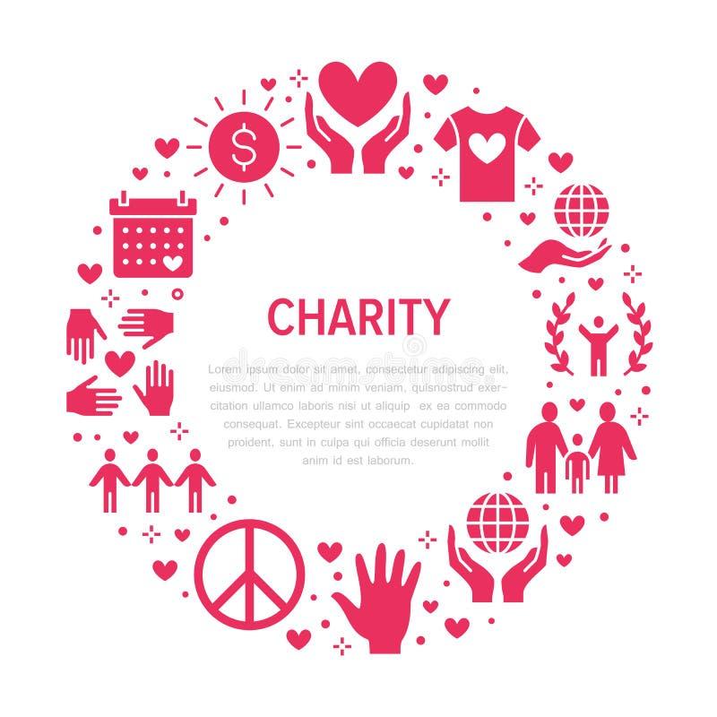 Bandera del círculo del vector de la caridad con los iconos planos de la silueta Donación, organización sin ánimo de lucro, ONG,  ilustración del vector