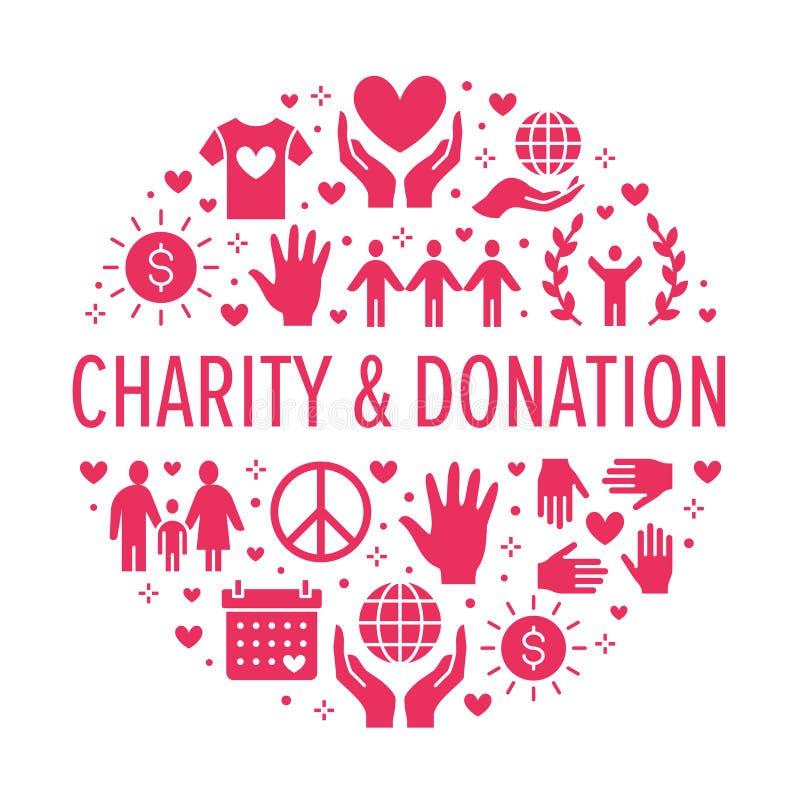 Bandera del círculo del vector de la caridad con los iconos planos de la silueta Donación, organización sin ánimo de lucro, ONG,  libre illustration