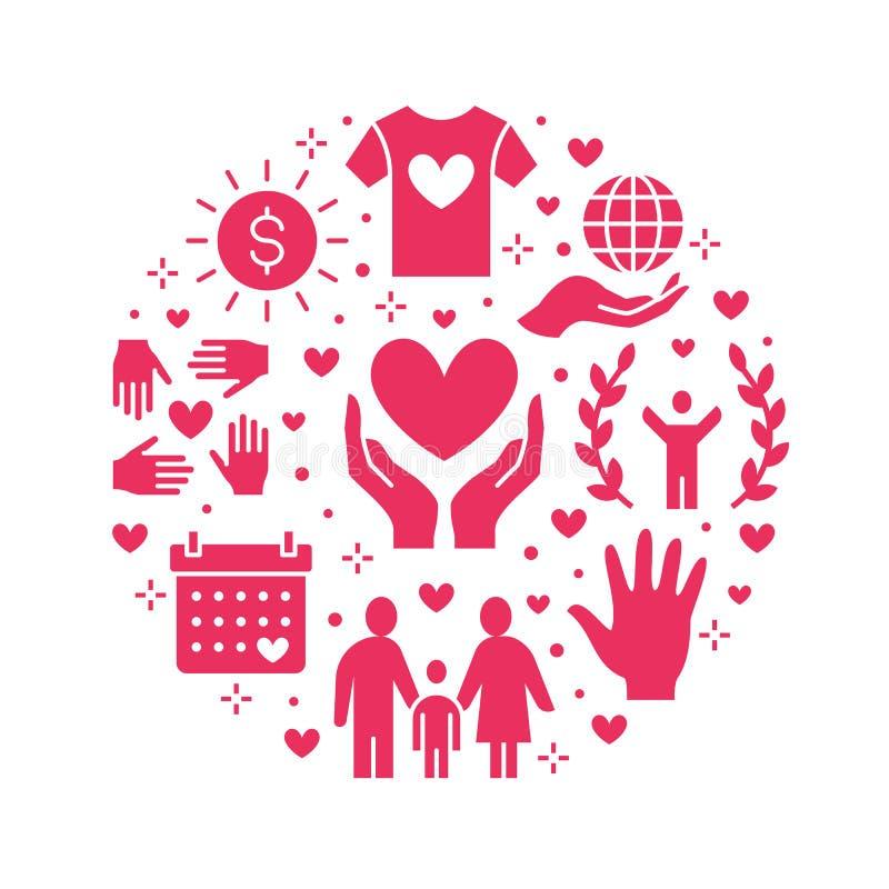 Bandera del círculo del vector de la caridad con los iconos planos de la silueta Donación, organización sin ánimo de lucro, ONG,  stock de ilustración