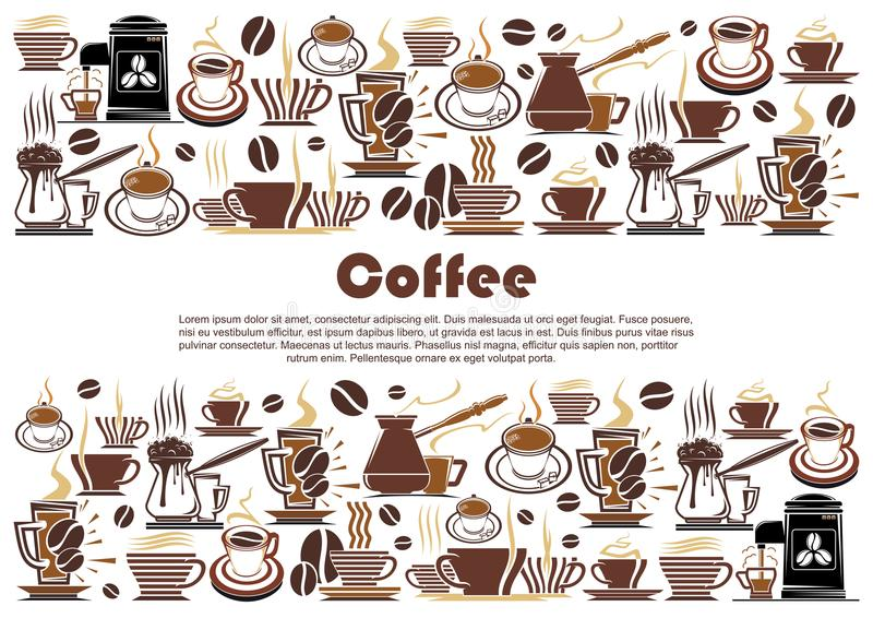 Bandera del café con la frontera caliente de la bebida y de la bebida ilustración del vector
