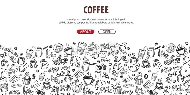 Bandera del café con los elementos del garabato del mano-drenaje en el fondo Plantilla del café para los anuncios libre illustration