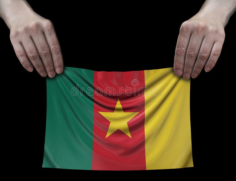 Bandera del Camerún en manos fotografía de archivo libre de regalías