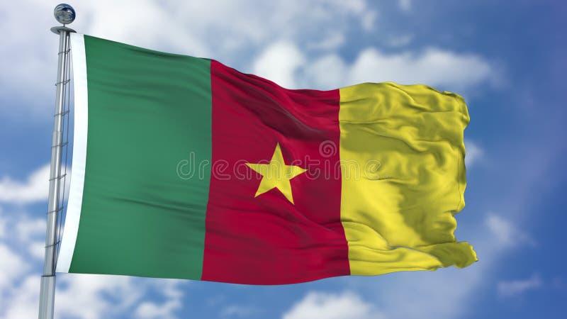 Bandera del Camerún en un cielo azul foto de archivo libre de regalías