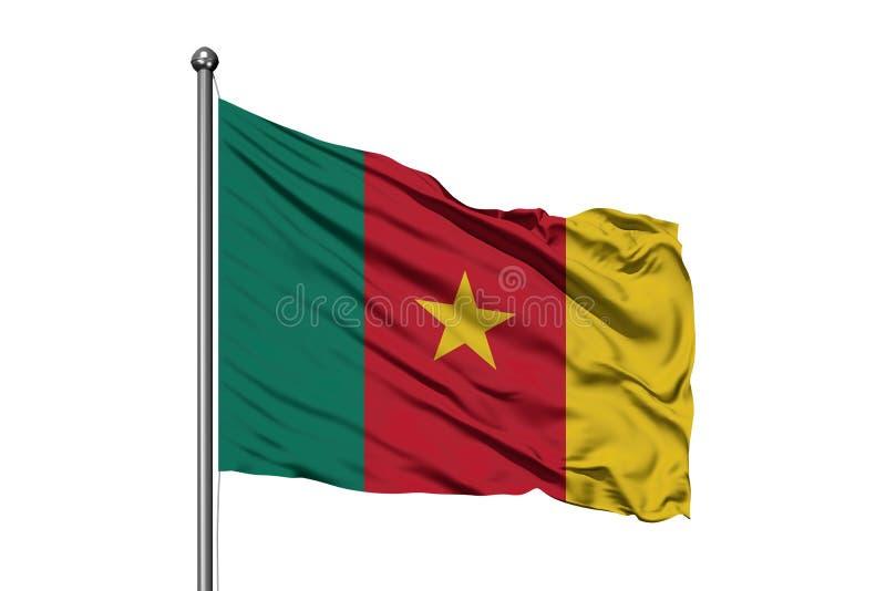 Bandera del Camerún que agita en el viento, fondo blanco aislado Bandera camerunesa fotografía de archivo
