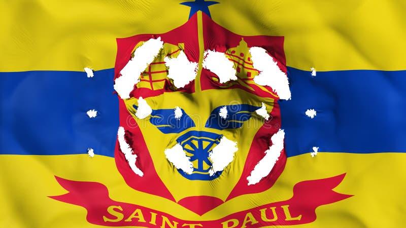 Bandera del capital de Saint Paul con pequeños agujeros ilustración del vector