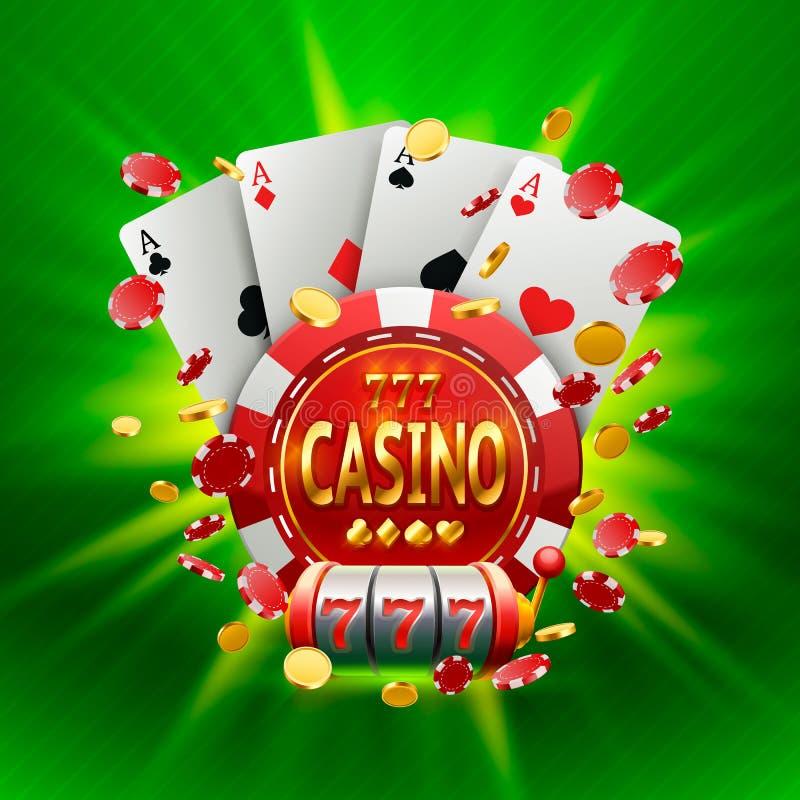 Bandera del casino en un marco en fondo stock de ilustración