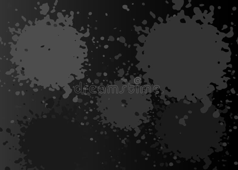 Bandera del chapoteo del Grunge, modelo de la salpicadura de la pintura en fondo del negro oscuro Plantilla de la textura del vec ilustración del vector