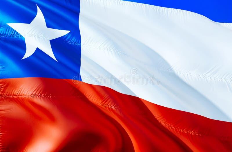 Bandera del chile diseño de la bandera que agita 3D El símbolo nacional del chile, representación 3D Colores nacionales y bandera imagenes de archivo