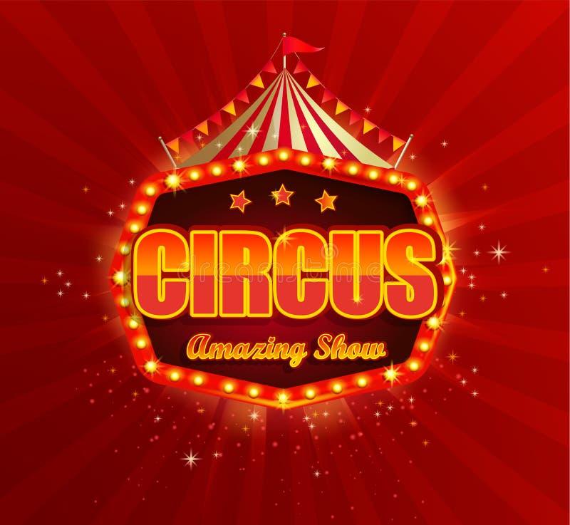 Bandera del circo con el marco retro de las bombillas libre illustration